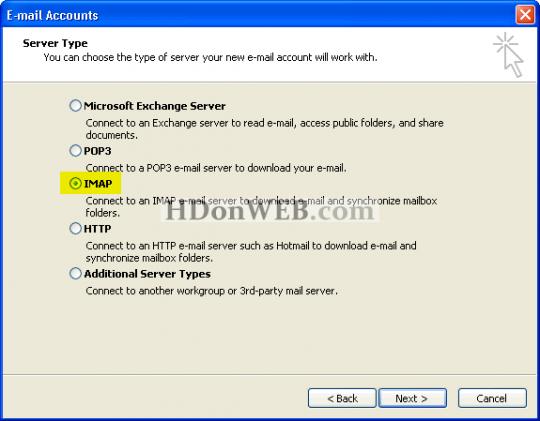 Gmail putem IMAP protokola u Microsoft Outlooku Odabir vrste servera