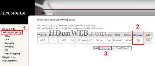 Konfiguracija Kasda KD318-MUI DSL Combo Routera Uklanjanje starih konekcija