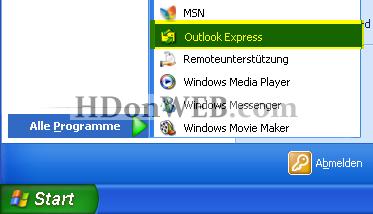 Kreiranje e-mail računa u Outlook Expressu 5i6 Windows XP deu Start / Alle Programme / Outlook Express