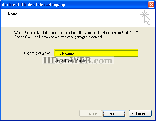 Kreiranje e-mail računa u Outlook Expressu 5i6 Windows XP deu Angezeigter Name