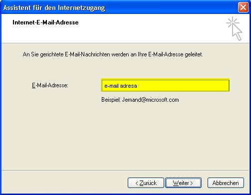 Kreiranje e-mail računa u Outlook Expressu 5i6 Windows XP deu E-mail Addresse