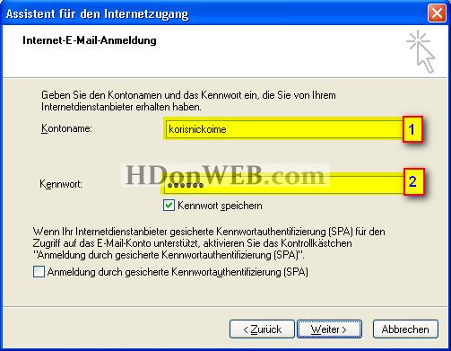 Kreiranje e-mail računa u Outlook Expressu 5i6 Windows XP deu Kontonamee Kennwort