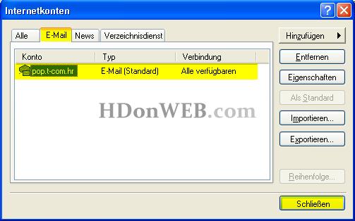 Kreiranje e-mail računa u Outlook Expressu 5i6 Windows XP deu Schliessen