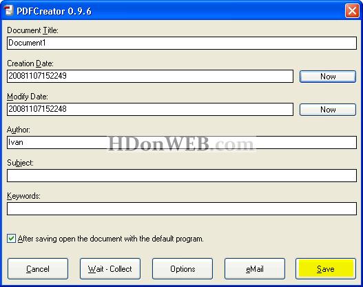 Forma za popunjavanje dodatnih informacija o PDF dokumentu