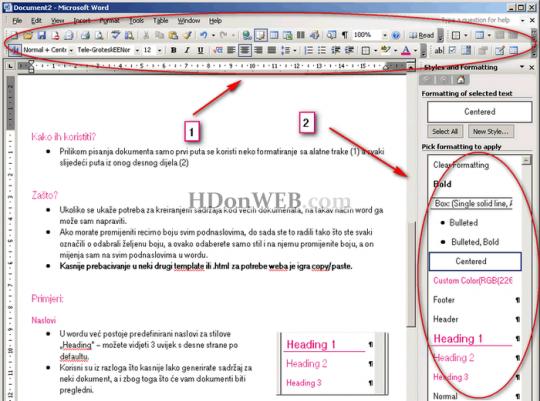 Kako koristiti stilove i formatiranja