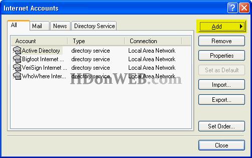Dodavanje novog računa za e-mail u Outlook Expressu