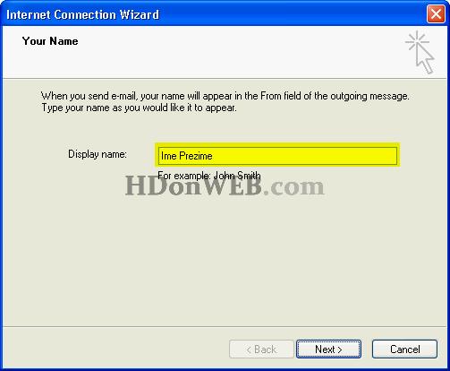 Upis željenog imena kod slanja e-maila
