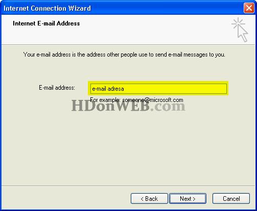 Upisivanje e-mail adrese