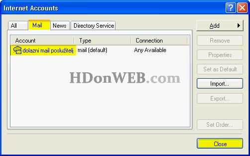 Pregled postojećih računa za elektroničku poštu u Outook Expressu