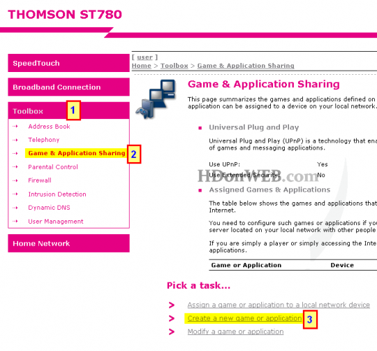 Thomson Speedtouch - Create a new game or application