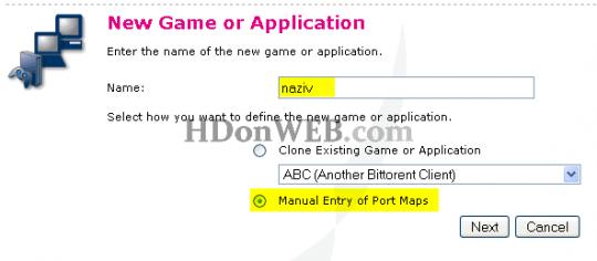Thomson Speedtouch - Naziv igrice/aplikacije