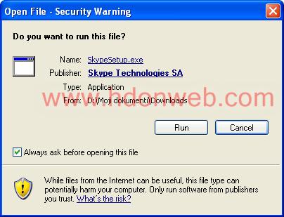 Skype pokretanje instalaciskog paketa