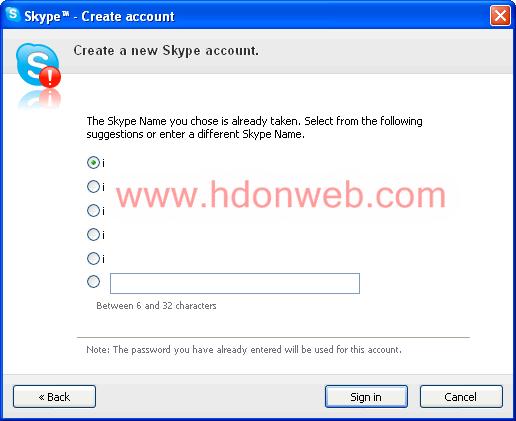 Odabir slobodnog Skype naziva