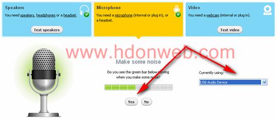 Testiranje mikrofona za Skype
