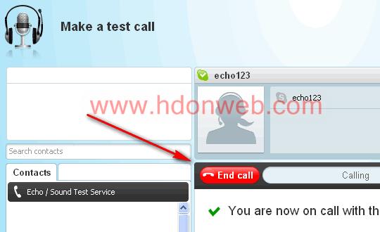 Uspostava testnog Skype poziva