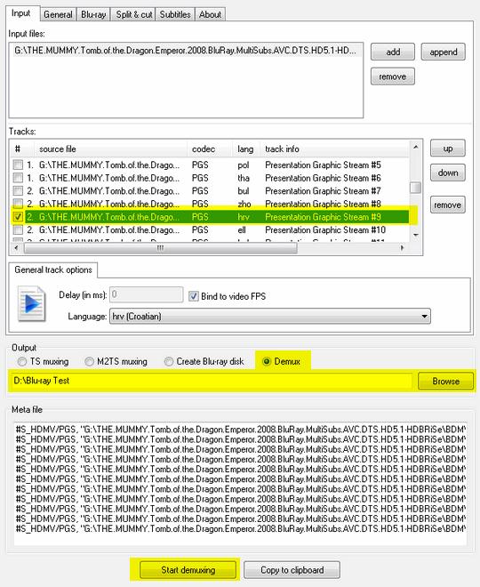 tsMuxeR odabir titla/jezika