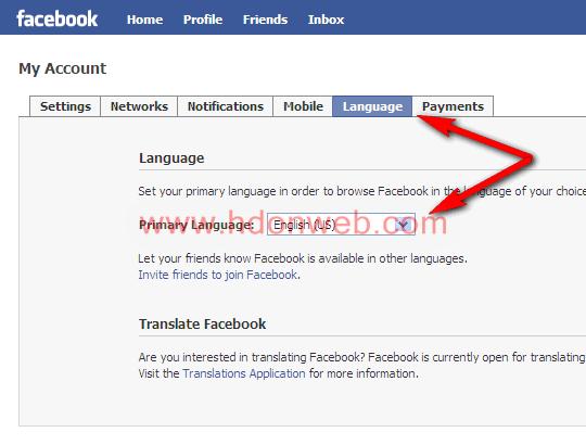 Facebook promjena jezika sučelja