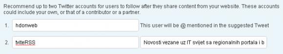 Preporučite Twitter račune posjetiteljima