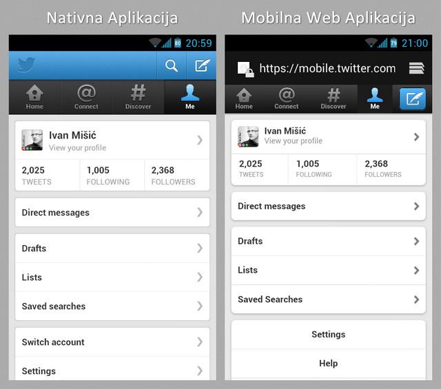 Twitter Nativna Aplikacija i Mobilna Web Aplikacija