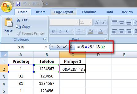 Excel spajanje stupaca