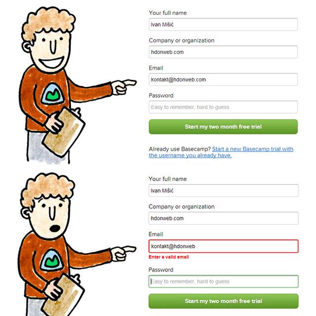 Basecamp registracija UX
